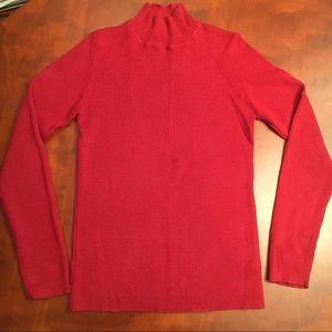 Ann Taylor mock turtleneck ribbed knit. - Red